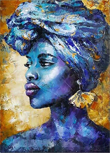 Kits de pintura de diamante 5D DIY para adultos Mujer africana azul Diamante redondo Pintura Decoración de la pared del hogar Regalos para el día de la madre y el día del padre40x50cm