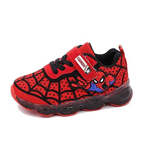 ROKIDS Kids Toddler Boys Spiderman Light Up Shoes Girls LED Sneaker Red 11 Little Kid