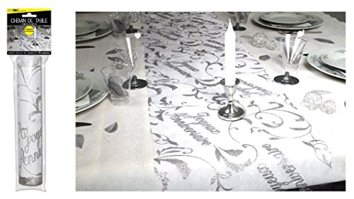 Surprisez vous - Chemin de table joyeux anniversaire argent - 28 cm x 5 m