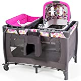 HONEY JOY 4-in-1 Pack and Play with Bassinet, Infant Nursery Center Pack n Play w/ Newborn Cradle & Hanging Toys, Diaper Storage Bag, Music, Carry Bag, Portable Baby Playard w/Changing Station (Pink)