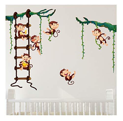 Stickers adhésifs Enfants | Sticker Autocollant singes dans la jungle - Décoration murale chambre enfants - Stickers muraux enfant singe - Autocollant mural singe | 60 x 70 cm