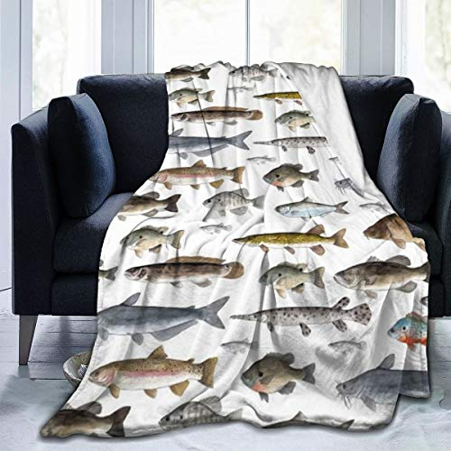 Flannel Fleece Luxury Throw Blanket, Watercolor Few Freshwater Fish Cartilaginous Fish Marine Life Blankets for Winter Living Room Wedding Gift, Air conditioning blanket and Large Lightweight 50'' x40