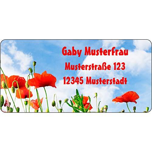 Adressaufkleber - Adressetiketten - Mohnblüte - 140 Stück 54 x 25 mm, 1-3 Zeilen beschriftbar