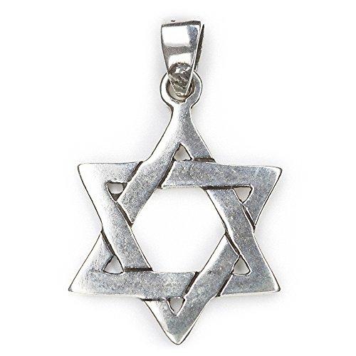Davidstern Schmuck Anhänger 925 Sterling Silber, Länge mit Schmucköse: 3,5cm, Hexagramm