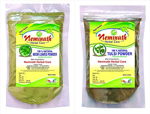 Neem Leaves (AZADIRACHTA INDICA), Tulsi Leaves (OCIMUM SANCTUM) Powder (PACK OF 2) Each 227 gm (8 OZ)