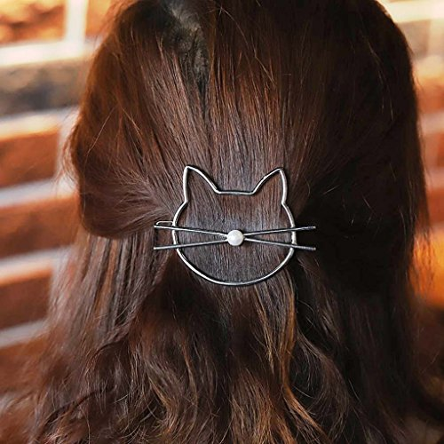 Fdesigner All-match Silver Cat Hair Clips with Pearl for Women and Girls Apply to Party and...