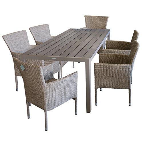 7piezas.–Muebles de Jardín muebles de terraza y sillas para jardín–Mesa de jardín, polywood de mesa placa, 205x 90cm, Champán + 6x jardín Sillón, polirratán trenzado, color natural