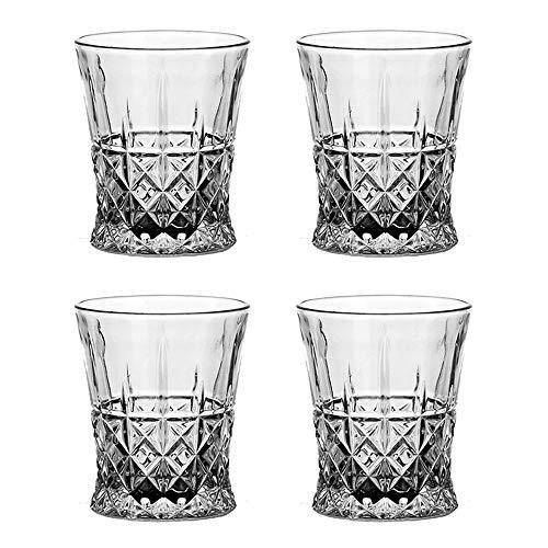 MINGZE Vasos de Whisky Lujoso, 275ML Vaso Whisky Ultra Claridad Vidrio Accesorios de Vino, para Bar Beber Borbón, Cócteles, Whisky, Vodka, Juice, Cocktail (Juego de 4 Lujoso, 275ML)