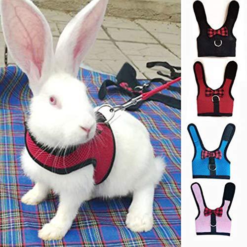 Arnés para chaleco de mascota, conejo de gato, tejido transpirable, con correa elástica de seguridad ajustable para el viaje y uso diario
