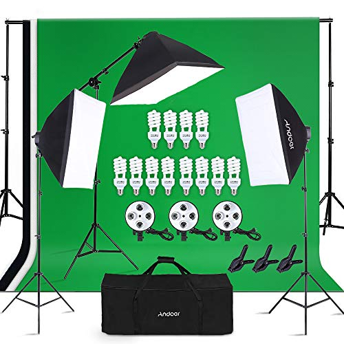 AGG1832 Light Stand Softbox Boom Stand Arm 11 Photo Bulbs LimoStudio 3000 Watt Digital Video Studio Continuous Light Kit with Carrying Case Bag Light Heads w//5 Bulbs