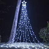 Christmas Decorations Outdoor Lights,16.4 ft 320 LED Star Christmas Tree Lights,8 Memory Lighting Modes&Timer Christmas Star Lights for Yard,Wedding,Party,Christmas Decorations (White)