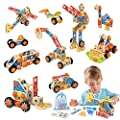 LUKAT Wooden Building Toys, 72 PCS STEM Science Engineering Blocks Kit for Toddlers, Educational Construction Learning Set Gift for Kids Boys Girls 3 4 5 6 7 8+ Year Old Christmas Birthday Gift