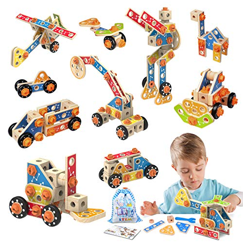 LUKAT Wooden Building Toys, 72 Pieces STEM Science Engineering Blocks Kit for Toddlers, Educational Construction Learning Set Gift for Kids Boys Girls 3 4 5 6 7 8+ Year Old Christmas Birthday Gift