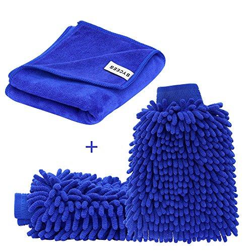 SYCEES 2 Stücke Wasserdicht Mikrofaser Autowaschhandschuh und 1 Stück Microfasertuch Set, weicher Korallen Auto Chenille Waschhandschuh Handschuh mit Reinigungstuch Trokentuch für Autowäsche