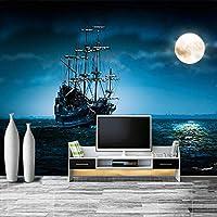 ヨーロピアンスタイルのヨット月光風景テーマ背景壁写真壁画壁紙リビングルーム寝室3D家の装飾-300x210cm