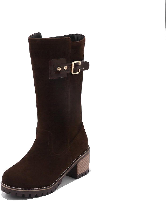 AandN Womens Boots Closed-Toe No-Closure Low-Heel Warm Lining Waterproof Road Nubuck Cushioning Bridal Round-Toe Urethane Boots DKU01861