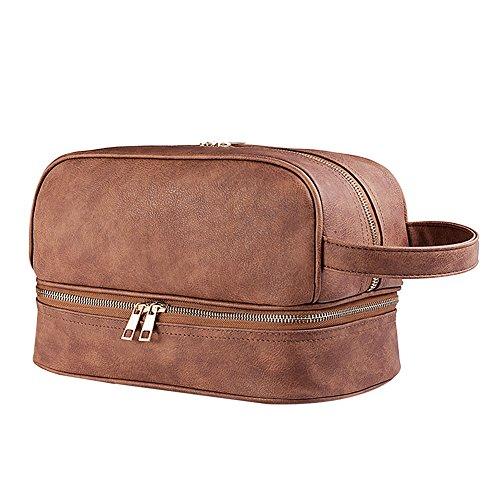 Goldwheat Men Leather Toiletry Bag Travel Dopp Kit Case Shaving Accessory Bag,Brown