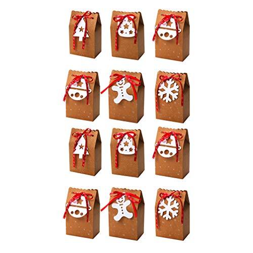 Amosfun Kerstmis Gift Boxen Cartoon Kraft Papier Cookie Snoep Favor Box Behandel Case Feestartikelen 11.5 * 7.5CM Picture 1