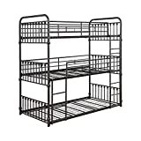 Coaster Furniture Navarino Heavy Duty Metal Twin Triple Bunk Bed 460220T - Twin-Over-Twin-Over-Twin Configuration - Durable and Inviting with Dark Bronze Metal Finish