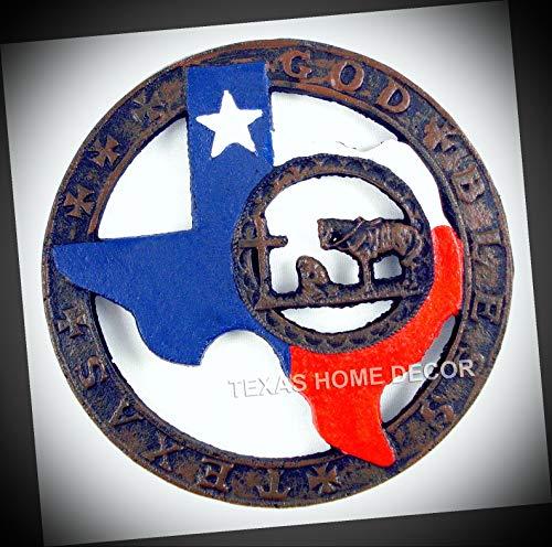 NewSSign Lot of GOD Bless Texas Cast Iron Trivet Cowboy Praying Texas Map Flag Plate Pot Holder Decor #TX-0637HDe Warranity by PrMch