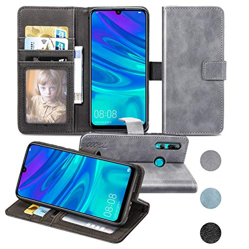 Huawei P Smart 2019/enjoy 9S Hülle, Handyhülle Premium Reach PU Leder Flip Wallet Tasche mit Kartenfach & Ständer für Huawei P Smart 2019/enjoy 9S Smartphone (grau) …