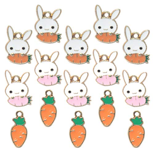 SOIMISS 30 Piezas de Colgantes de Pascua Dijes de Conejo Dijes de Animales para DIY Collar Pendientes de Pulsera Regalos de Pascua para Niñas Y Mujeres