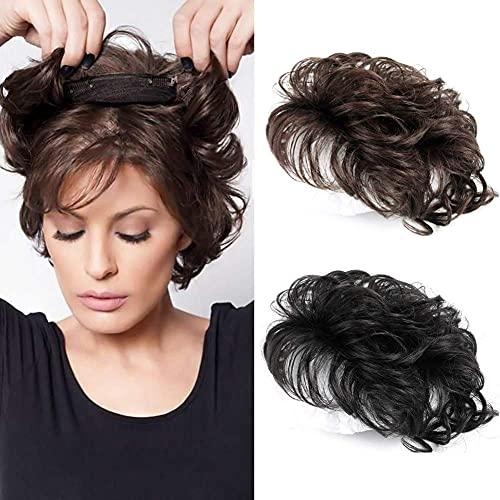 "Natural Human Hair Topper Closure Curly Hair Clip in Hairpiece Short Hair Weaving Hair Replacement Crown Wiglet for Women 13x14cm Dark Brown 6"""