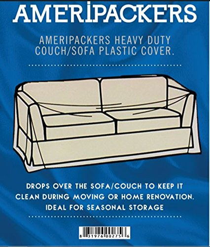 Sofa/Couch Heavy Duty Plastic Cover for Moving Storing and Renovation by Ameripackers
