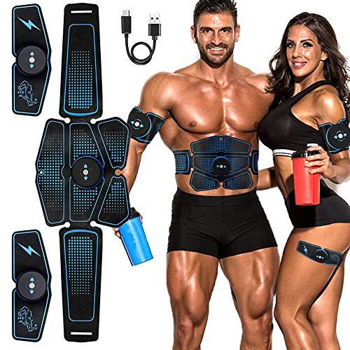 SZYM Bauchmuskeltrainer Muskelstimulator EMS Trainingsgerät USB Wiederaufladbar Elektromuskelstimulation Abnehmen Massagegerät Maschine Trainer Sportgerät für Zuhause