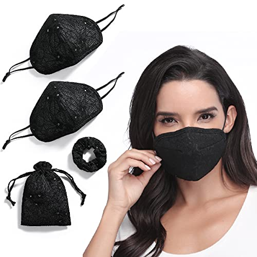 Knacky Reusable Black Lace Face Mask for Wedding with Adjustable Ear Loops Face Mask & Scrunchie Set in a Bag Cotton Washable Girly Face Cover Face Protector 3D Cloth Mask Protective Guard for Adults