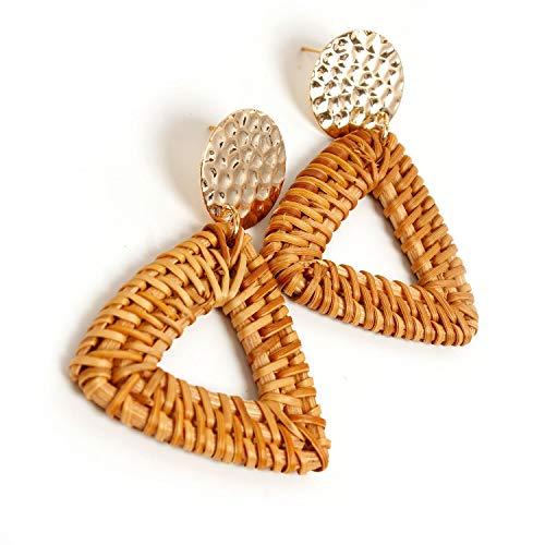 LiXiang666 Mano de la Manera Tejida de Mimbre Temperamento Pendientes geométrica Hueca hacia Fuera los Pendientes Pendientes Triangulares Partido Jewelr (Color : Coffee)