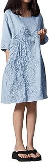 Women Dress Half Sleeve O Neck Floral Patchwork Cotton Linen Loose Bohe Casual Dress