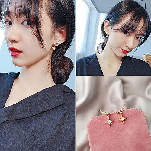 VIQNJ Día de uñas de Oreja de Perla, Aguja de Plata Pura de Corea del Sur, Elegante, Moda, vectores, Marea, Talento, Pendientes Simples, mujer-E1660 Star Mang - Silver Needle