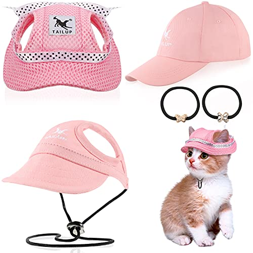 3 Pieces Dog Parent-Child Hats Pet's Mom Dad Baseball Cap Set Dog Baseball Caps Pet Round Brim Princess Cap Visor Hats Pet Outdoor Sports Hats with Ear Holes And Adjustable Chin Strap for Small Dogs