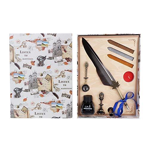 Piuma con confezione regalo Penna stilografica vintage piuma, strumento di scrittura, per scrivere per regalo(gray)