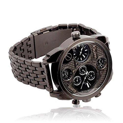 OULM Reloj clásico de los Hombres Retros de la Personalidad del Vestido del Reloj de los Relojes Dos Zonas horarias/aleación de Acero de Negocios (Negro)