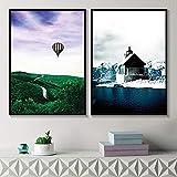 ganlanshu Pintura sin Marco Cuatro Temporadas de Arte de Pared Natural Paisaje escandinavo Colorida decoración Natural de la Sala de estarZGQ3810 30X40cmx2
