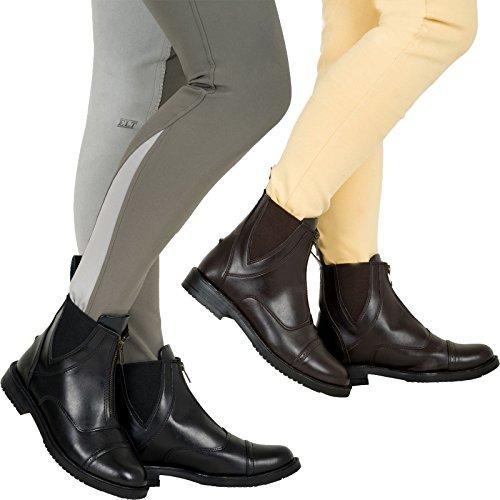 Joy Rider Syntetyczne buty Jodhpur - skórzany padokan jazda koń Jodhpur zamek błyskawiczny z przodu, - Brązowy - 36/37 EU