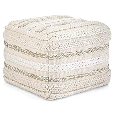 Simpli Home Sommer Contemporary Square Pouf in Natural Handloom Woven Pattern
