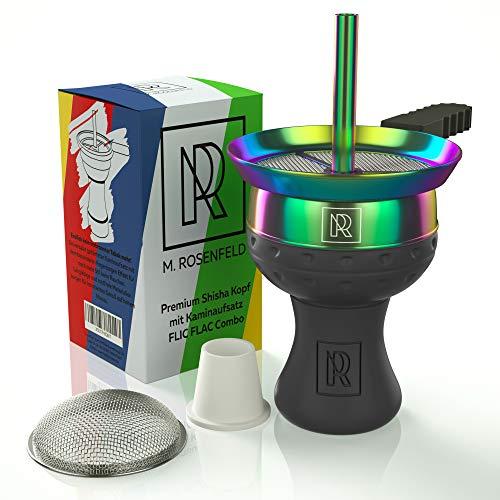 Narguilé Kit Tête narguilé avec embout cheminée – Fabriqué à la main pour plus de fumée avec embout de cheminée FLIC FLAC coloré + tamis à narguilé + joint de tête