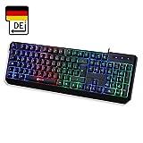 KLIM Chroma Clavier Gamers QWERTZ DEUTSHLAND Filaire USB - Haute Performance - Éclairé chromatique Gaming Noir RGB PC...
