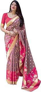 Pinkkart Grey Silk Designer Party Saree Sari Party wear Silk Matching Stylish Blouse Pattern Indian Ethnic Women Festival ...