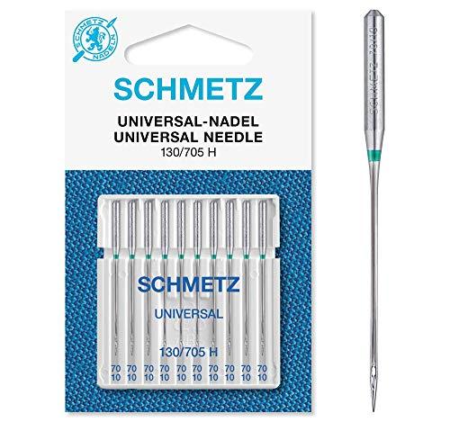 SCHMETZ Nähmaschinennadeln: 10 Universal-Nadeln, Nadeldicke 70/10, 130/705 H, auf jeder gängigen Haushaltsnähmaschine einsetzbar
