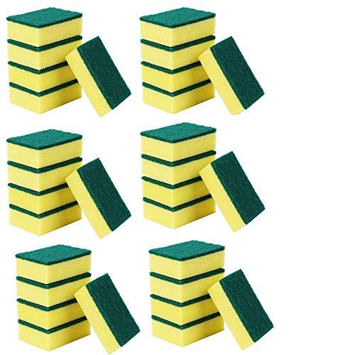 30 Pack Heavy Duty Scrub Sponges Set, Scrubbing Sponge Dish Sponge, Best Scrubber Sponges, Non Scratch Cleaning Scrub Sponges, Dish Scrubber Sponges for Kitchen Bathroom Dishes Car Wash(10x7x3cm)