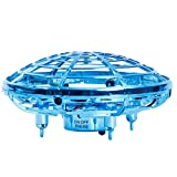 WDD Mini UFO Drone, Quad Induction Levitation Flying Toy Hand-Control, 360 ° Rotation Toy Regalo Creativo de Navidad para niños (Blue)
