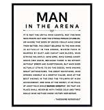 LARGE 11X14 - Man in the Arena - Inspirational Quotes - Teddy Roosevelt Poster - Motivational Gifts for Men, Boys, Teens, Entrepreneur - Office, Living Room, Bedroom Wall Art Decor - Daring Greatly