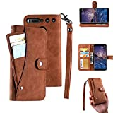 Essential Ph-1 Case, Essential Phone Wallect Case, [Wallet Stand] Flip Magnetic 6 Cards Slot/Cash Pocket PU Leather Cover with Wrist Strap and Oil Edge Making for Essential Phone PH-1. (Brown)