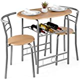 Best Choice Products 3-Piece Wooden Round Table & Chair Set for Kitchen, Dining Room, Compact Space w/Steel Frame, Built-in Wine Rack - Natural