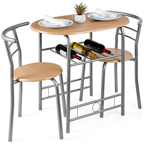Best Choice Products 3-Piece Wooden Kitchen Dining Room Round Table and Chair Set w/Built-in Wine Rack, Natural