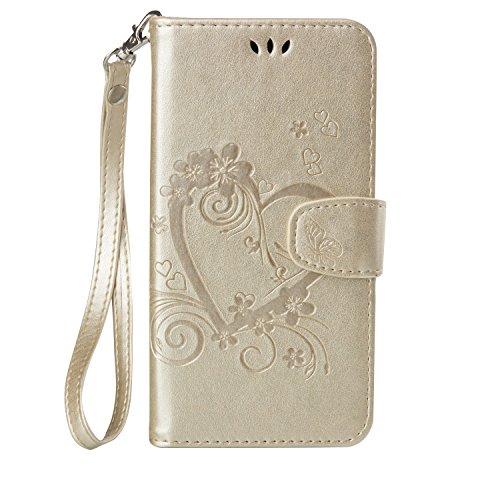 Lomogo Huawei Honor 5X Hülle Leder, Schutzhülle Brieftasche mit Kartenfach Klappbar Magnetisch Stoßfest Handyhülle Case für Huawei Honor 5X - LORXZ020424 Gold